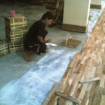 ilustrasi lantai kayu menggunakan metode acian