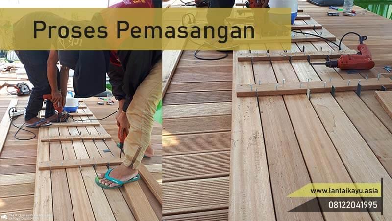 Proses peamsangan Decking kayu untuk outdoor