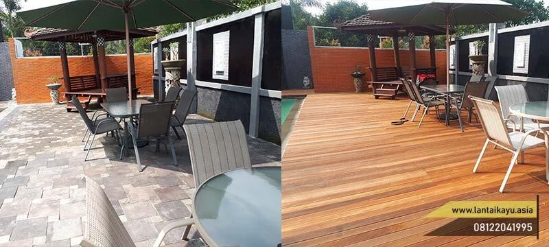 Pemasangan lantai kayu outdoor di kolam renang pasha ungu bogor