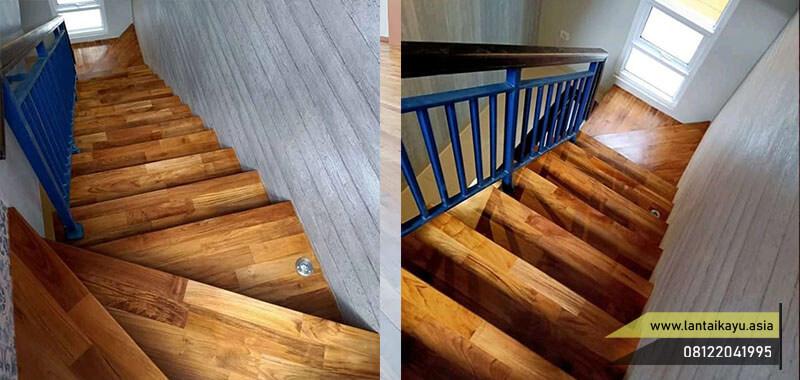 Inspirasi pemasangan parket kayu Jati Grade A tangga