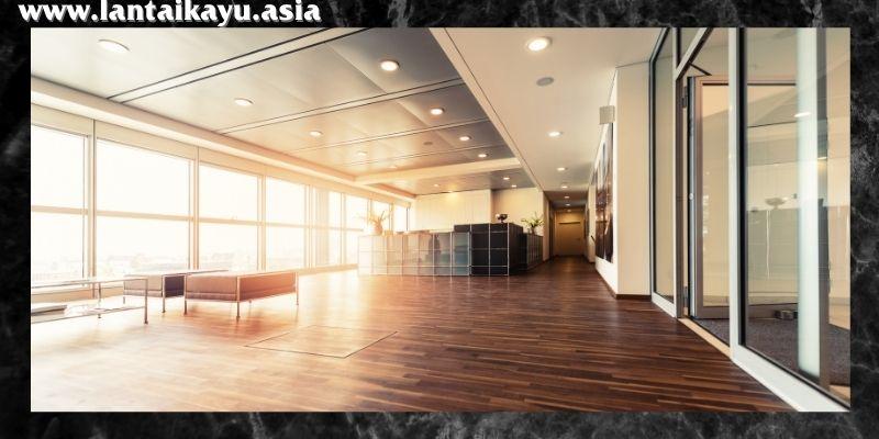 material lantai terbaik untuk kantor - lantai kayu solid