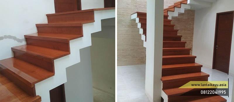 Contoh papan tangga kayu terpasang pada hunian tingkat dua