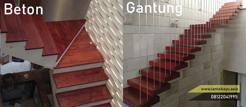 2 jenis papan kayu tangga beton dan gantung