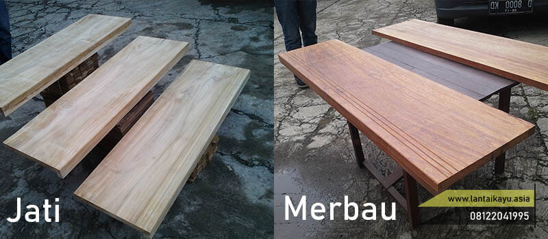 papan kayu dari kayu jati dan Merbau