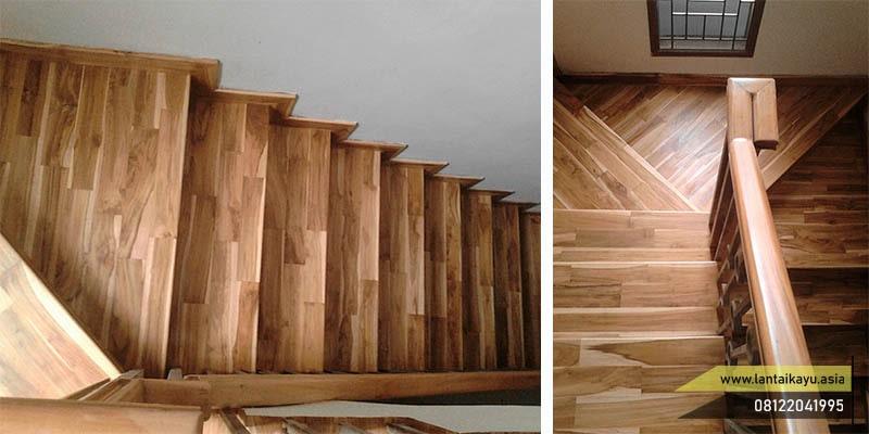 parquet lantai kayu untuk anak tangga
