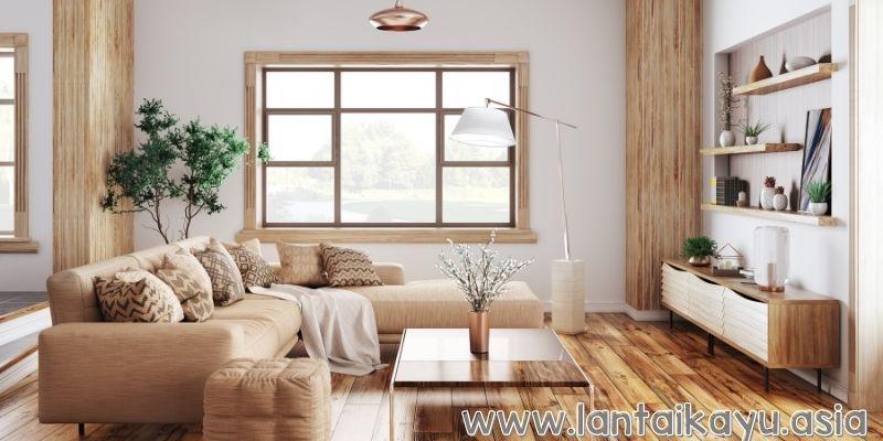Ruang Keluarga dengan Aksen Kayu yang Hangat