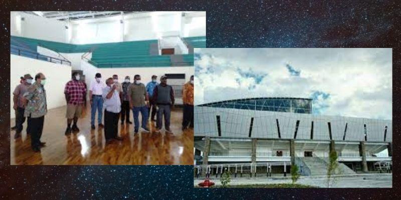 pemasangan lantai kayu di lapangan basket Mimika Sports Complex