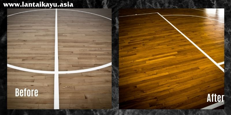 perbandingan lantai kayu seelum dan sesudah di coating